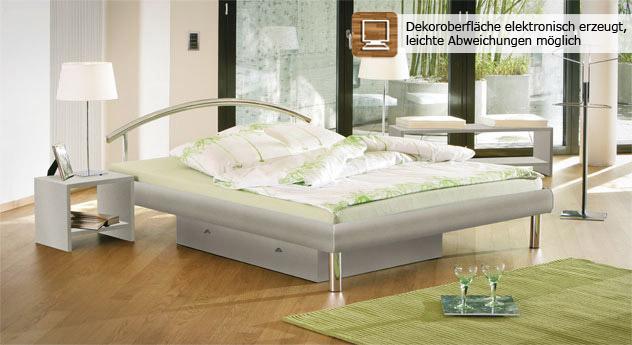 """Geschmackvolles Bett """"Parla"""" in Metallfarbe"""
