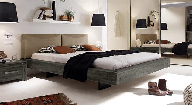 Bett Penco aus Akazie in Grau