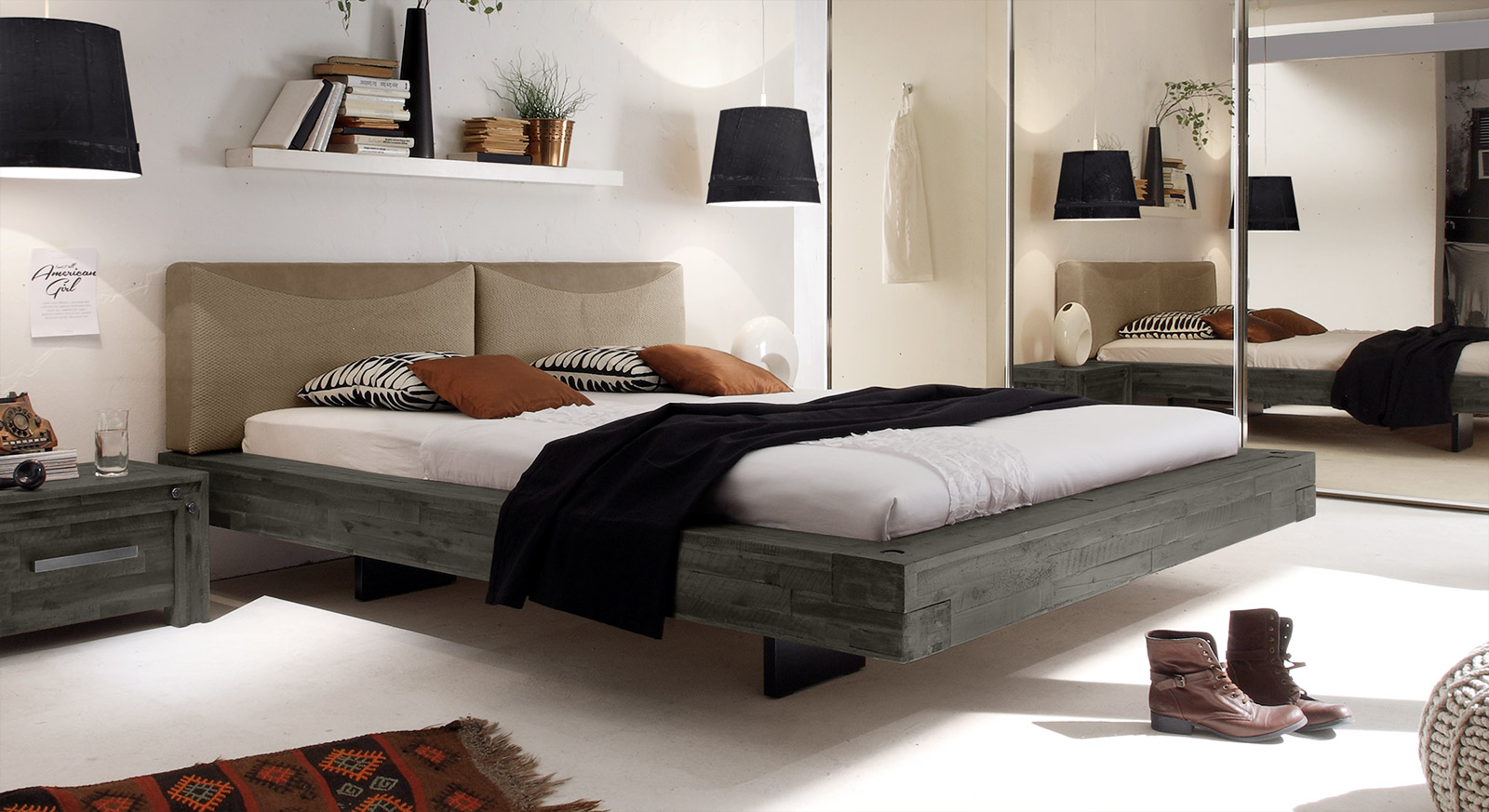 doppelbett schwebend aus akazie gefertigt penco. Black Bedroom Furniture Sets. Home Design Ideas