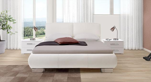 Bett Pera in weißem Echtleder
