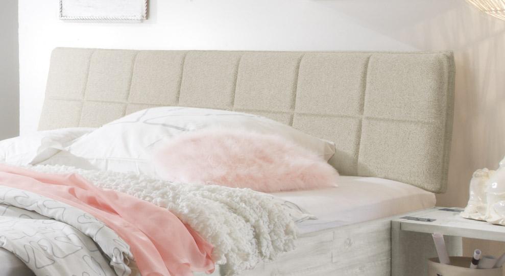 Bett Pica mit webstoffbezogenem Kopfteil