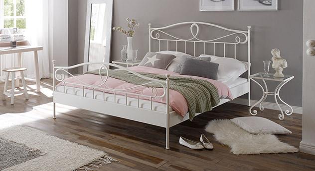 Jugendliches Bett Piemonte in weißem Metall