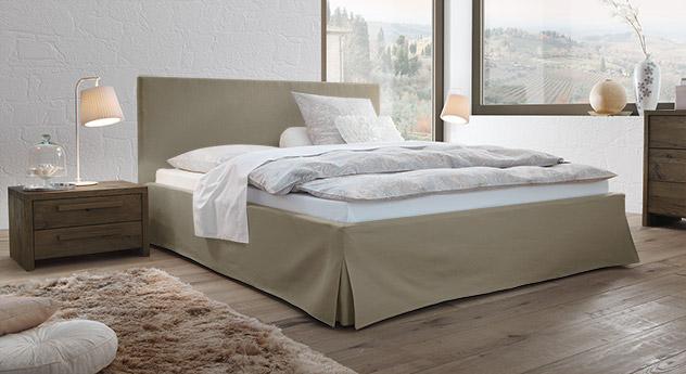 Modernes Bett Pilio aus Webstoff mit Leinen in Taupe