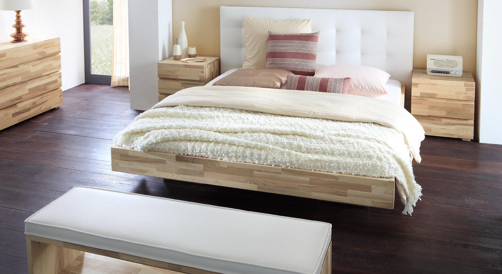 Schwebendes Bett Aus Eschenholz Mit Kopfteil Bett Portland