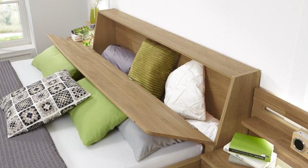 Bett Quebo inklusive Kopfteil mit praktischem Bettkasten