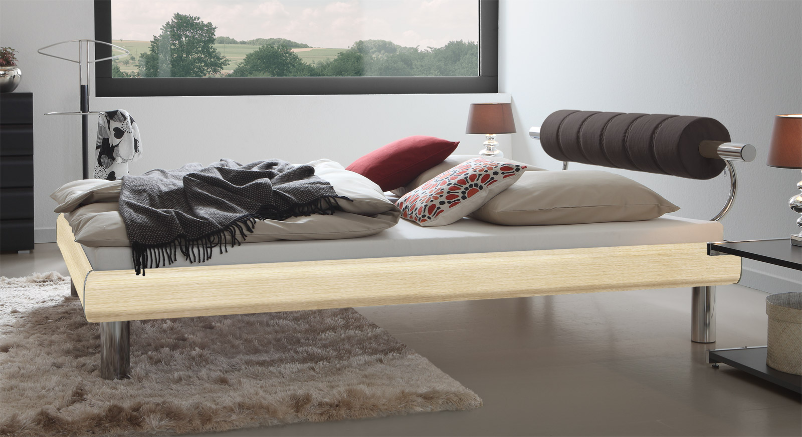 Ahornfarbenes Bett Rocio mit stabiler Bettkonstruktion und einer Fußhöhe von 20cm