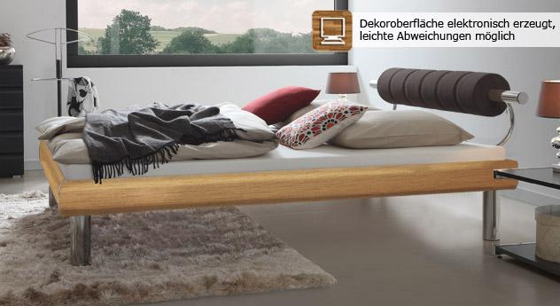 Bett Rocio mit feiner Holzmaserrung in Buche mit 25cm hohen Füßen