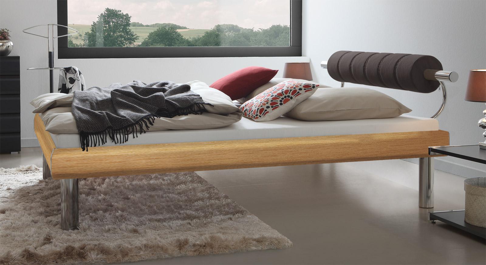 Stabile 30cm hohe Bettbeine von Designerbett Rocio in Buche