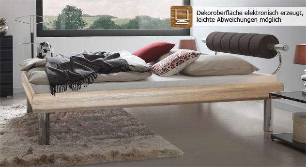 Bett Rocio in Eiche in der Größe 160x200cm mit 30cm hohen Bettbeinen