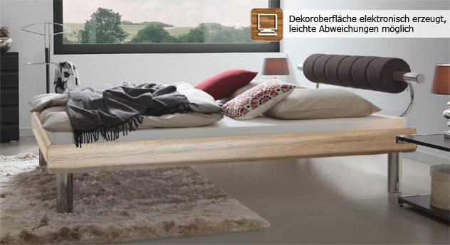 Bett Rocio in Eiche mit extravagantem Design mit 25cm hohen Bettbeinen