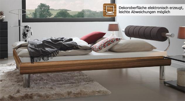 Bett Rocio in Nussbaumfarben ist in 180x200cm mit 20cm hohen Bettbeinen erhältlich
