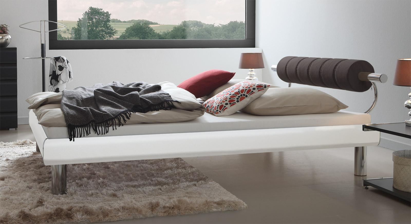 Einzelbett Rocio in Weiß mit 20cm hohen Bettbeinen