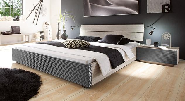 Schickes, modernes Bett Santerno in der Farbe weiß anthrazit