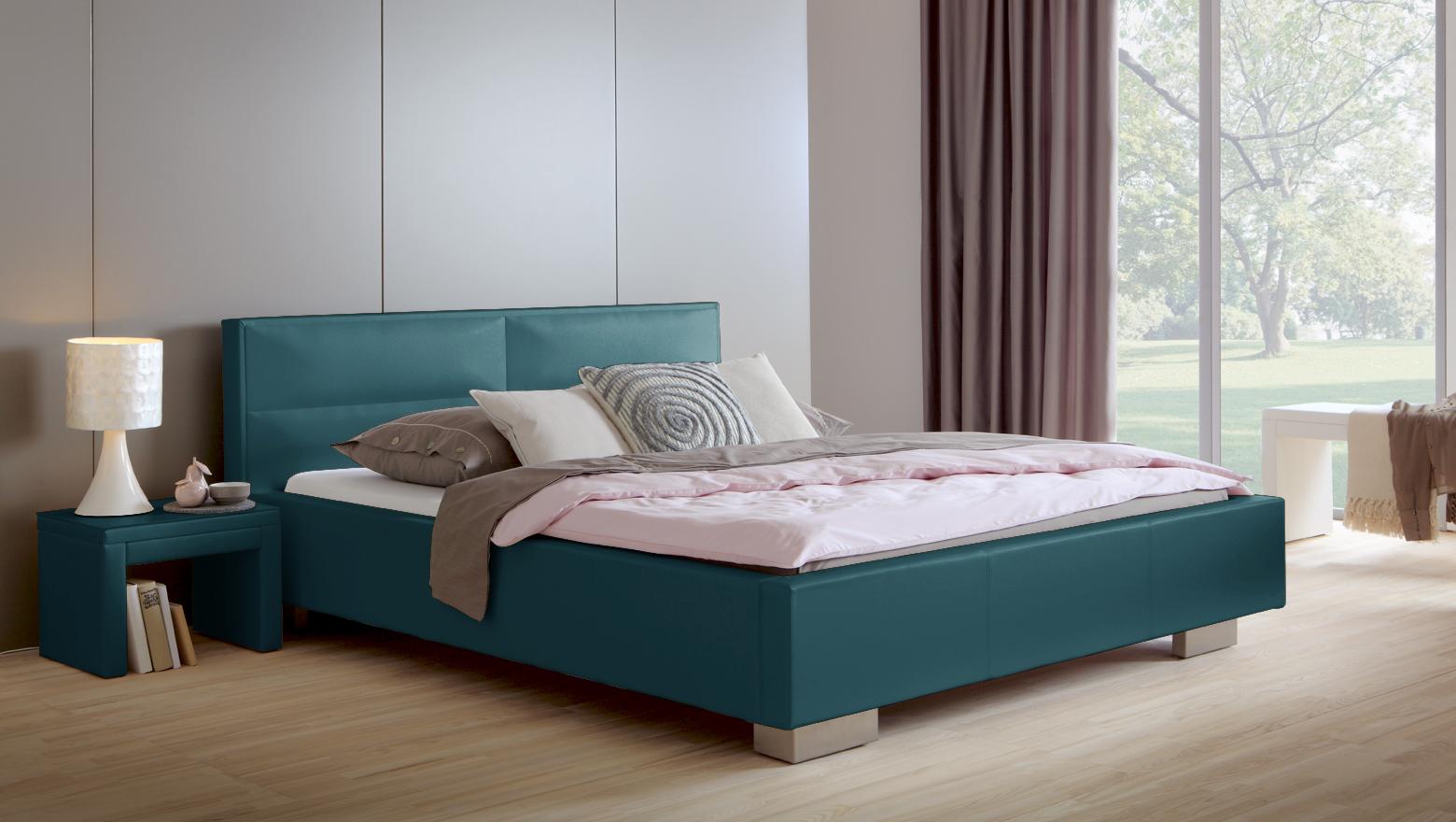 polsterbett shade lederbett mit beigem kunstleder bezug. Black Bedroom Furniture Sets. Home Design Ideas