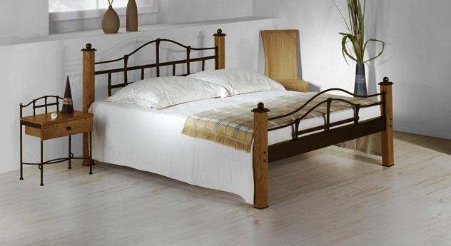 metallbett im landhausstil aus eiche 180x200 cm sinja. Black Bedroom Furniture Sets. Home Design Ideas