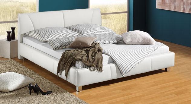 Bett Sona aus weißem Kunstleder