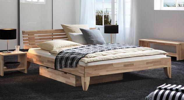 Modernes Massivholzbett Sunrise aus hochwertiger Kernesche
