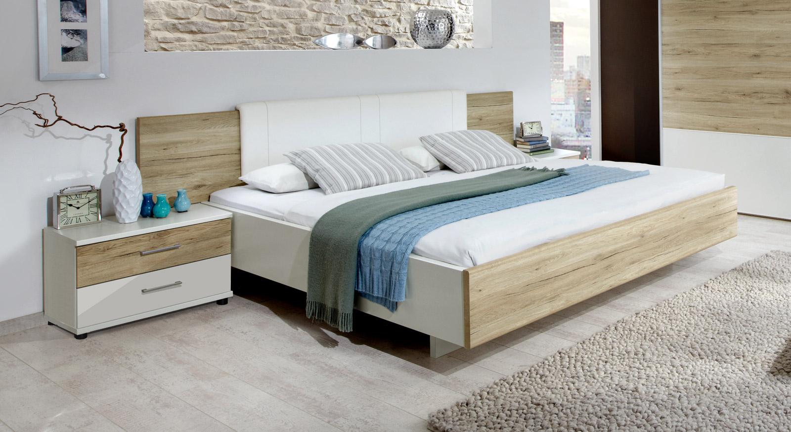 Bett Swansea in Eiche Nachbildung mit weißem Dekor