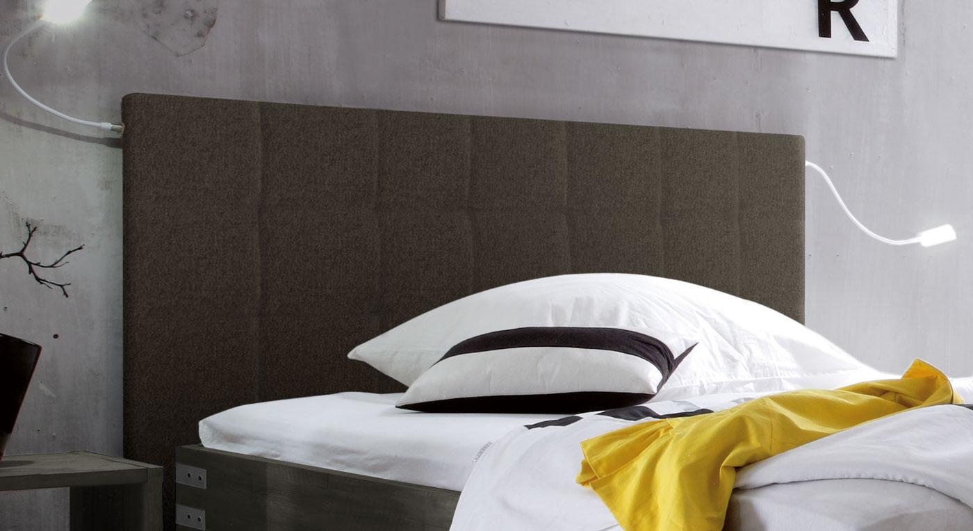 Bett Talca mit Webstoff-Kopfteil in Braun