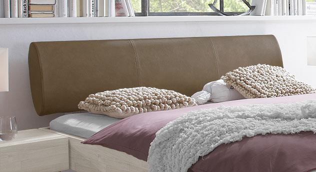 bett tema mit gepolstertem kopfteil aus luxus kunstleder. Black Bedroom Furniture Sets. Home Design Ideas
