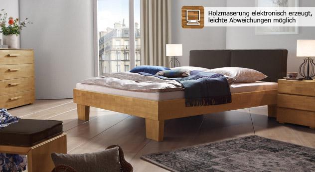 Das Bett Tiago in Buche natur und Leinen Braun