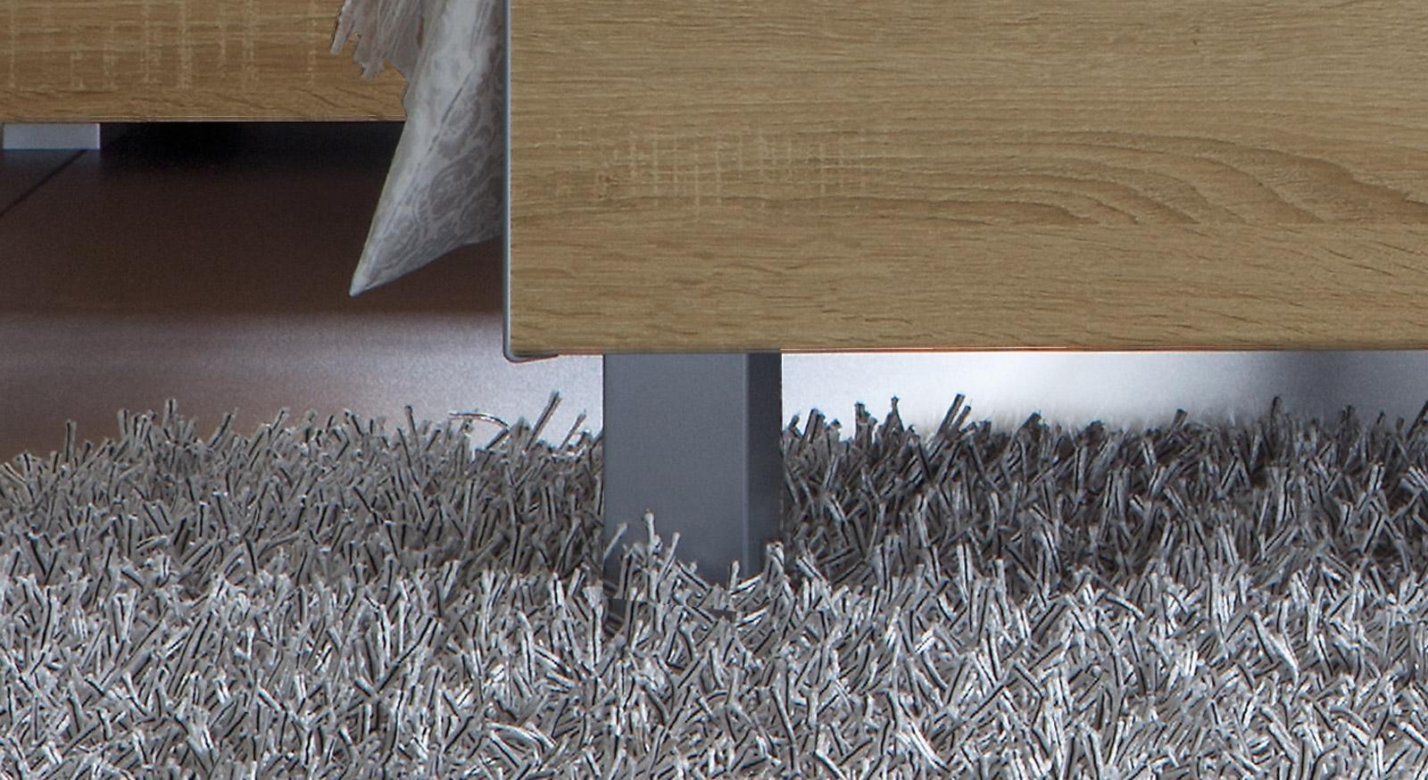 Das Bett Treviso aus MDF, Eiche mit Metallfuß