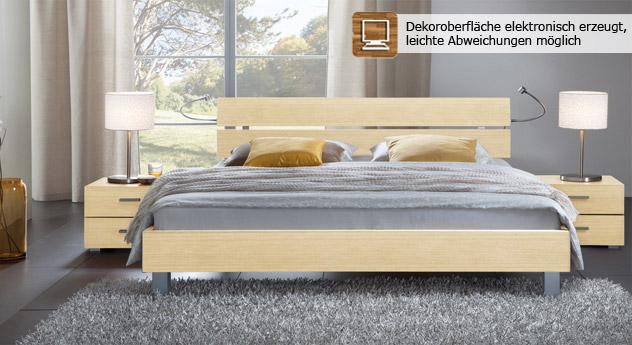 Das Bett Treviso aus MDF, ahorn