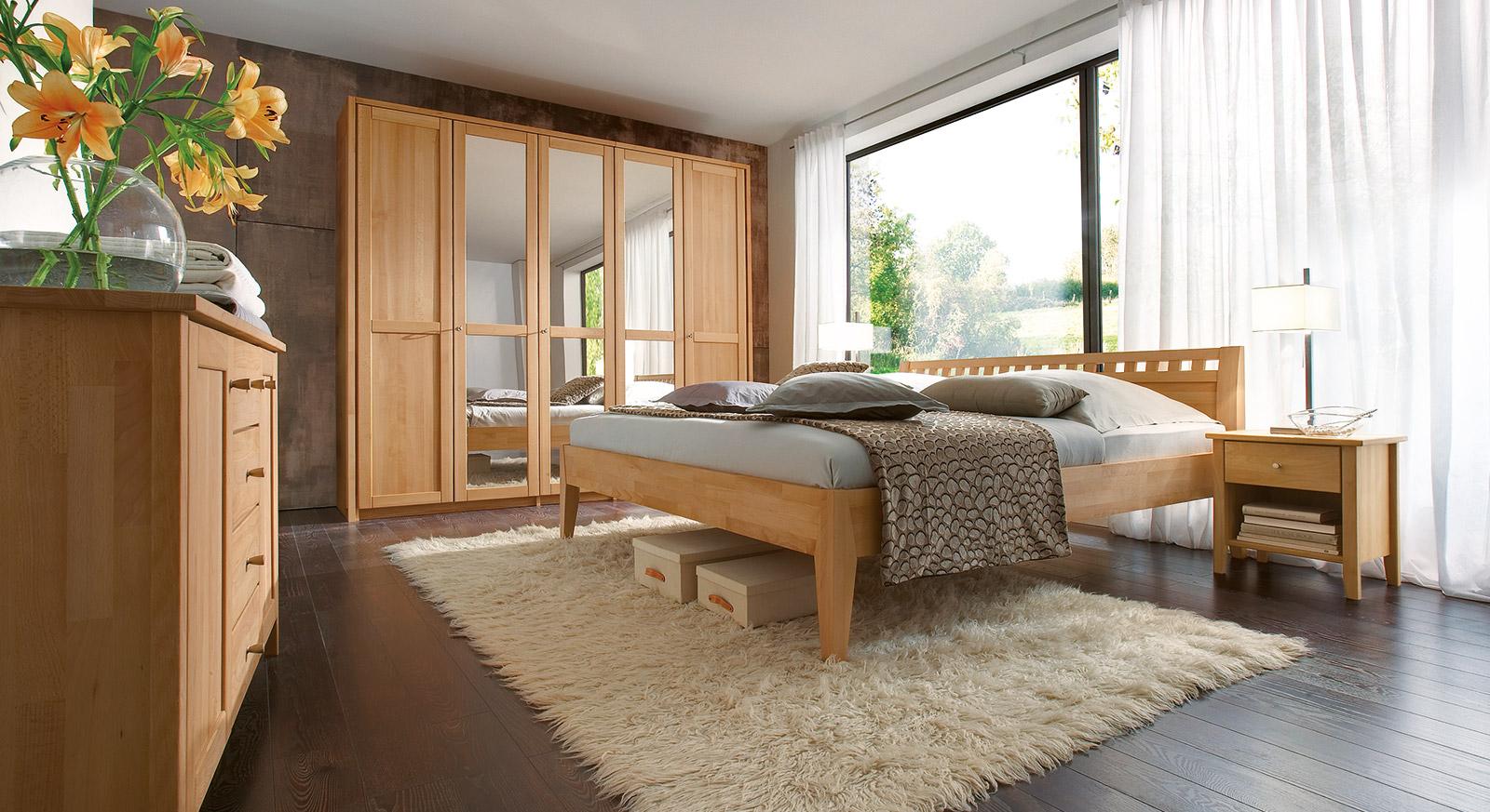 massivholzbett aus buche biologisch geölt - triest, Schlafzimmer entwurf