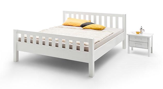 Bett Valencia Komfort aus Buche, weiß lackiert
