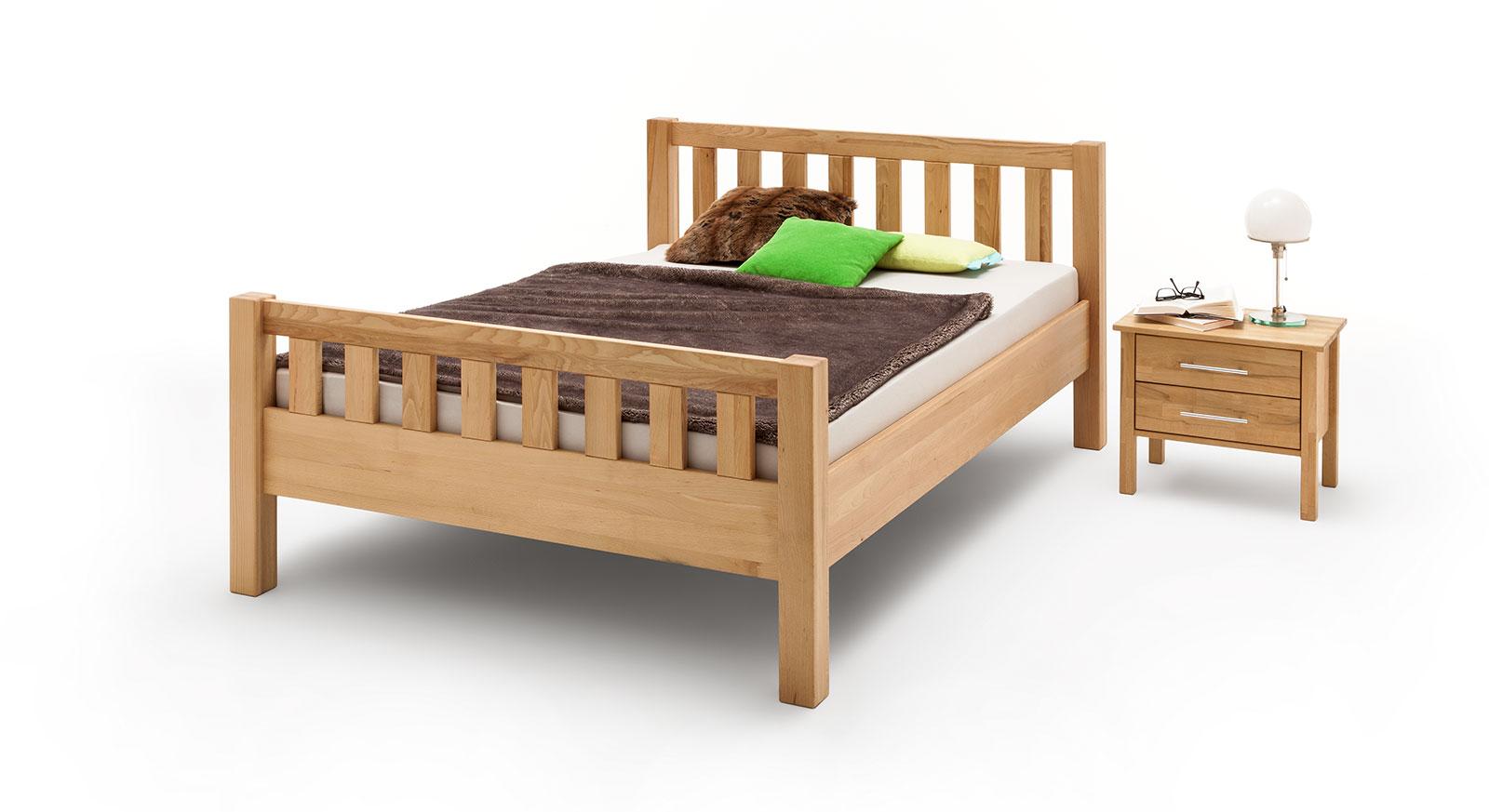Massivholz Bett Valencia Komfort auf Kernbuche, natur