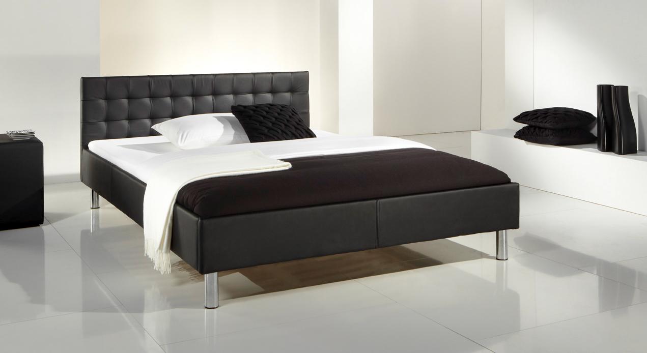 Einzelbett modern  Kunstleder Bett in Schwarz mit Polsterkopfteil - Ventura
