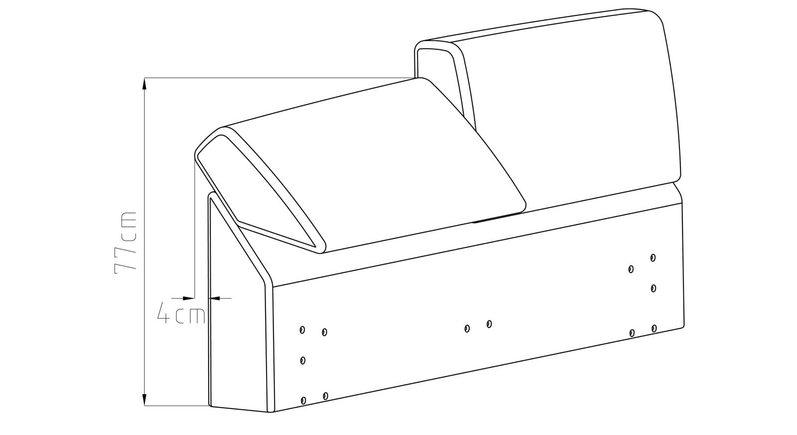 Zeichnung des verstellbarem Kopfteil vom Bett