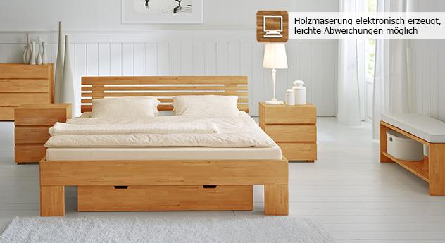Doppelbett Bett White Romance in Buche natur