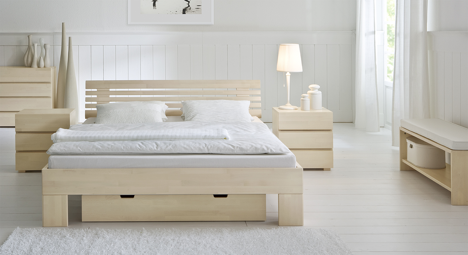 stilvolles massivholzbett aus buche white romance. Black Bedroom Furniture Sets. Home Design Ideas