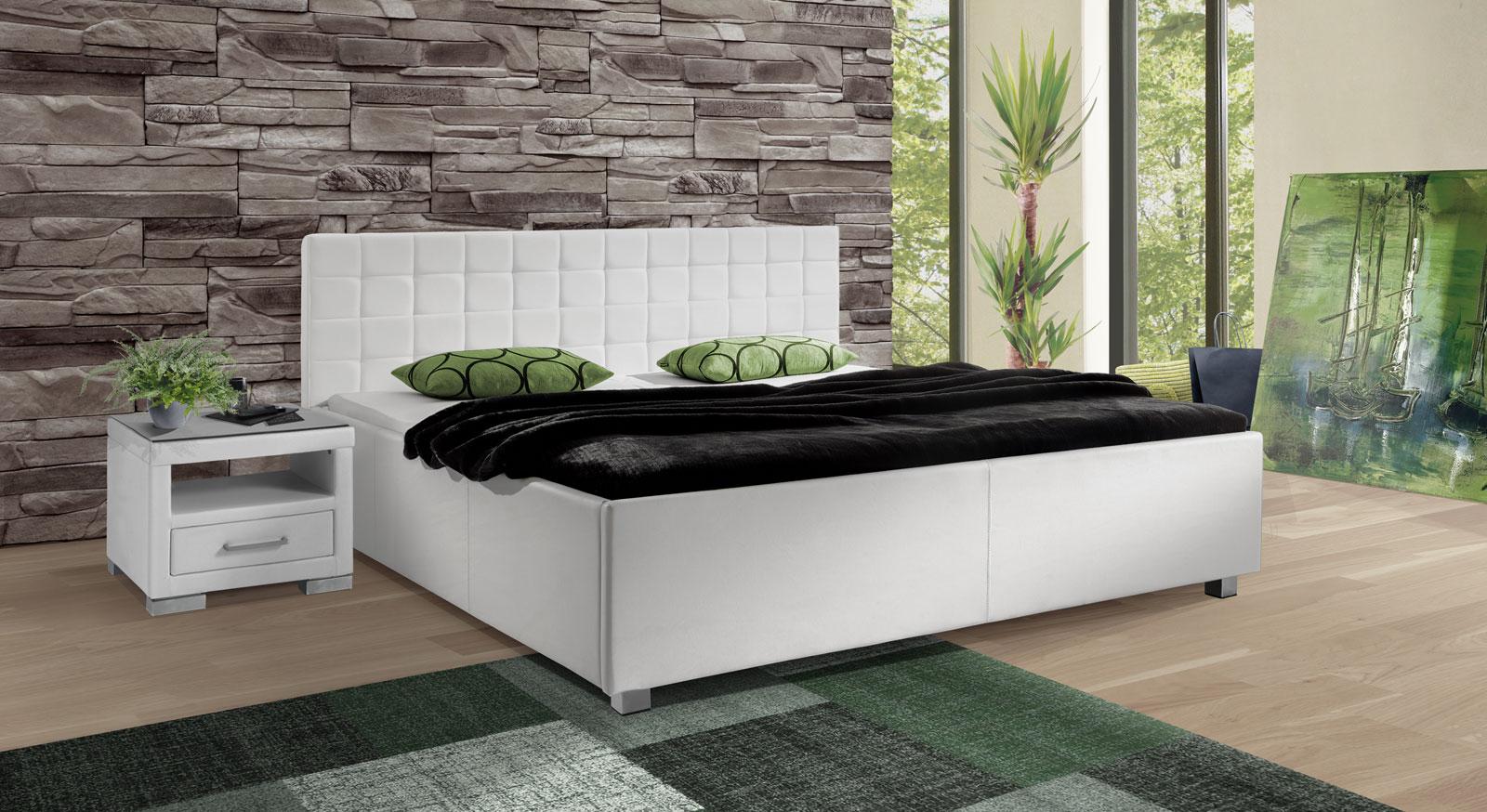 Bett Withernsea mit Kunstleder-Bezug in Weiß