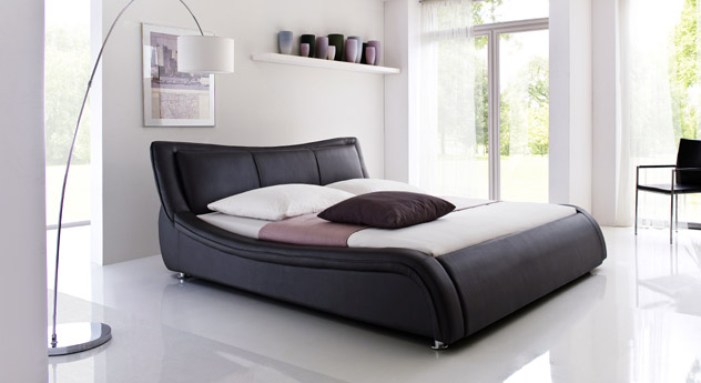 kunstlederbett aberdeen schwarz breite 160 oder 180. Black Bedroom Furniture Sets. Home Design Ideas