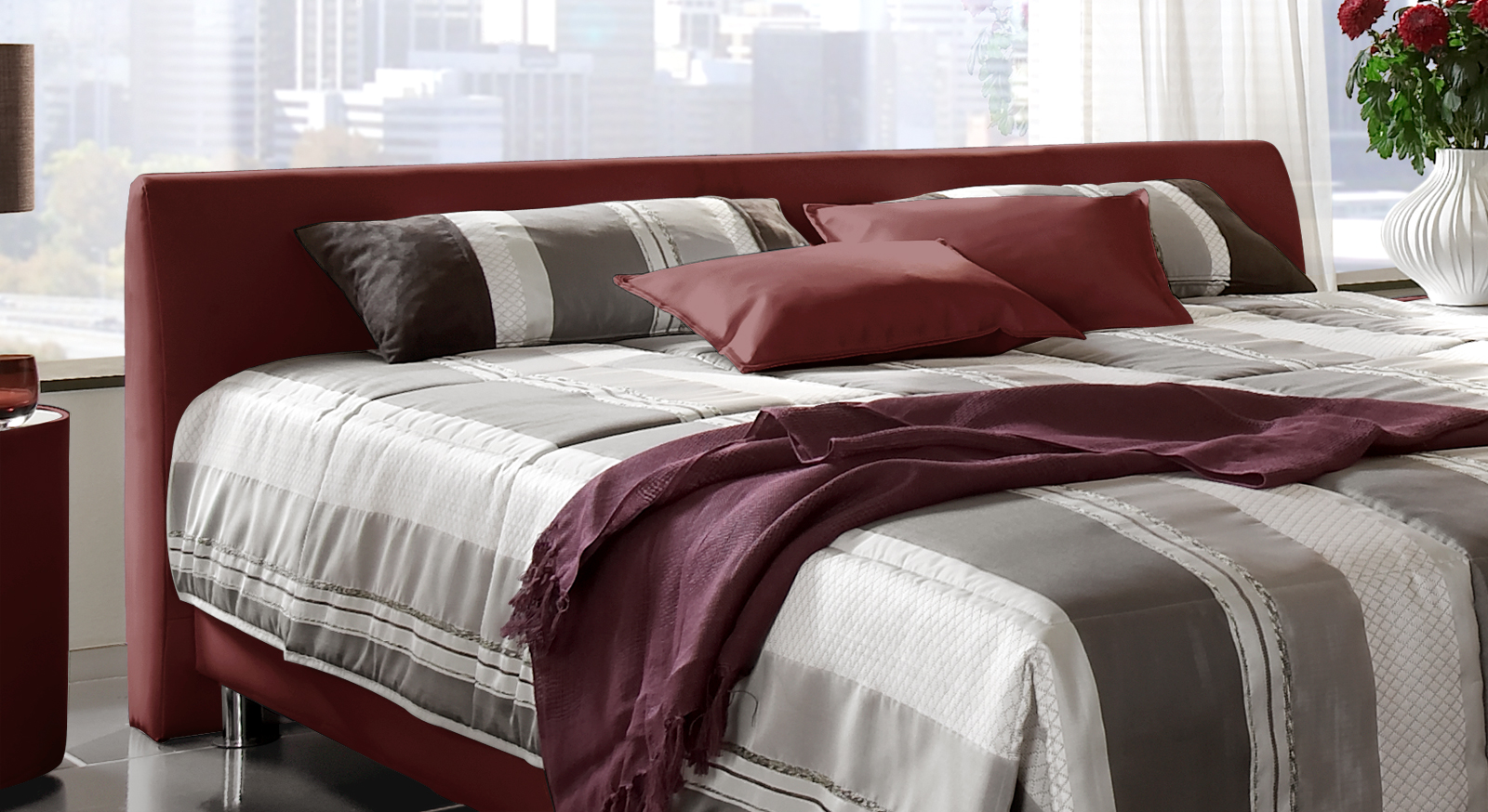 Modernes polsterbett aus leder mit bettkasten   liberio