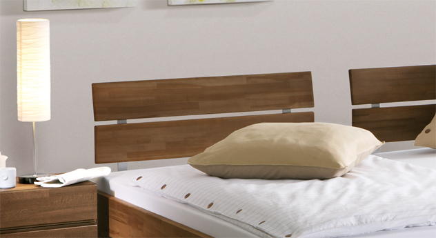 Doppelbett Lucca Komfort zweigeteiltes Kopfteil Buche
