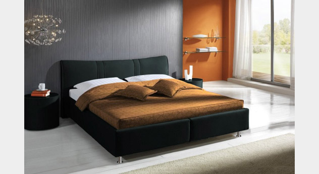 Bett Messina schwarz Leder