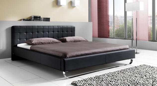Bett Odessa aus schwarzem Leder