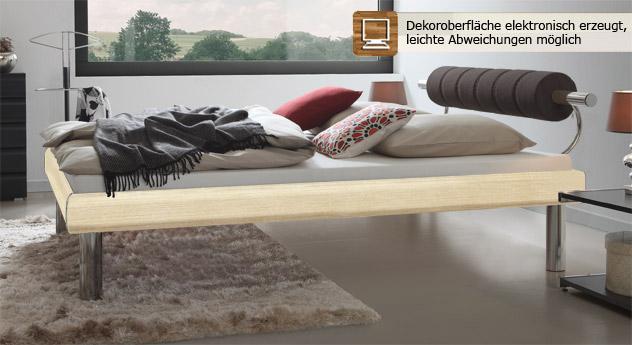 Designerbett Rocio in Ahorn mit Komforteinstiegshöhe und einer Fußteilhöhe von 30cm