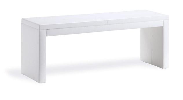 Weiße Bettbank Shade mit weißem hochwertigen leder.