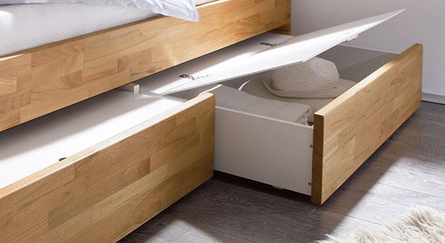 Bettkästen vom Schubkasten-Bett Manchester mit optionalen Deckeln