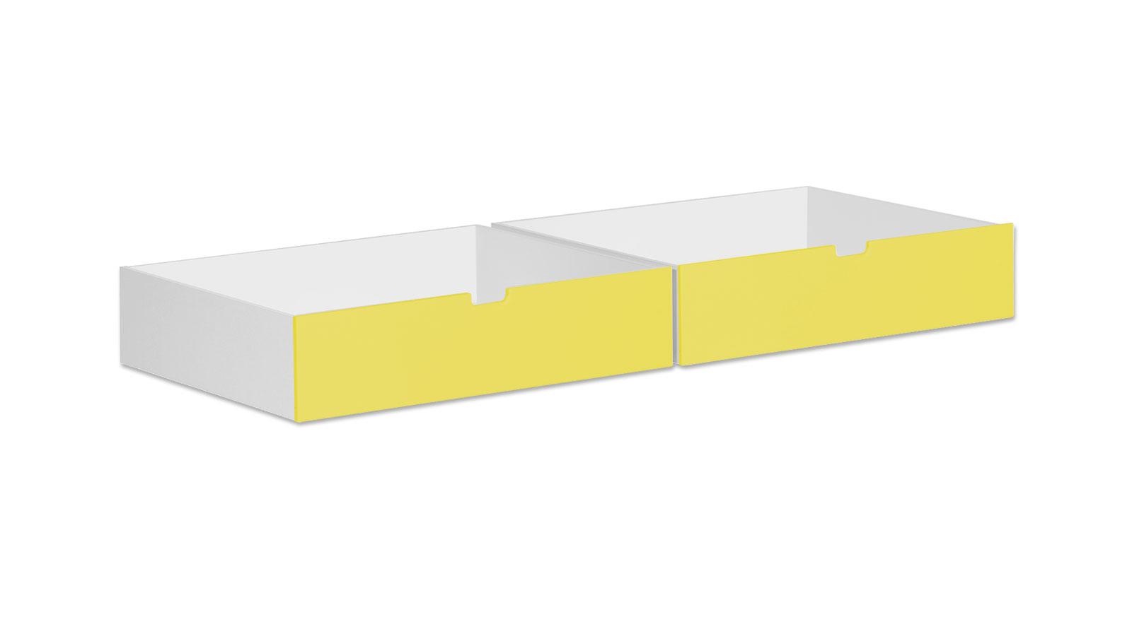 Bettschubkasten Kids Town in Weiß mit gelber Front