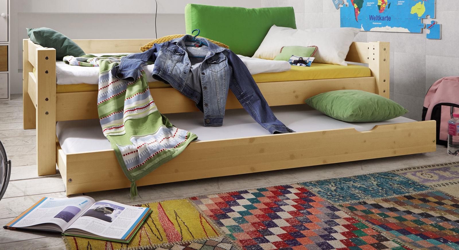 Bettschublade Kids Dreams in Kiefer natur lackiert