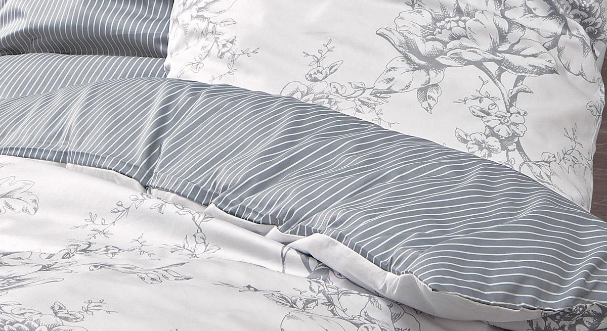 Bettwäsche Vintage Harmony in Weiß mit Detailaufnahme des Musters