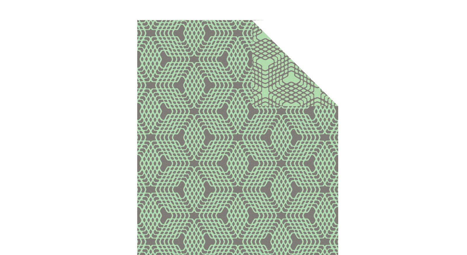 Bio-Kuscheldecke Technique mit grün-grauem Muster