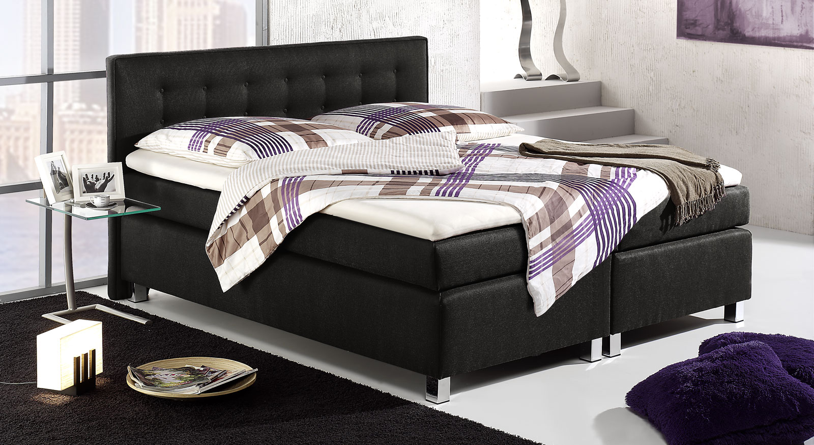 bett mit bonell boxspring system dallas. Black Bedroom Furniture Sets. Home Design Ideas