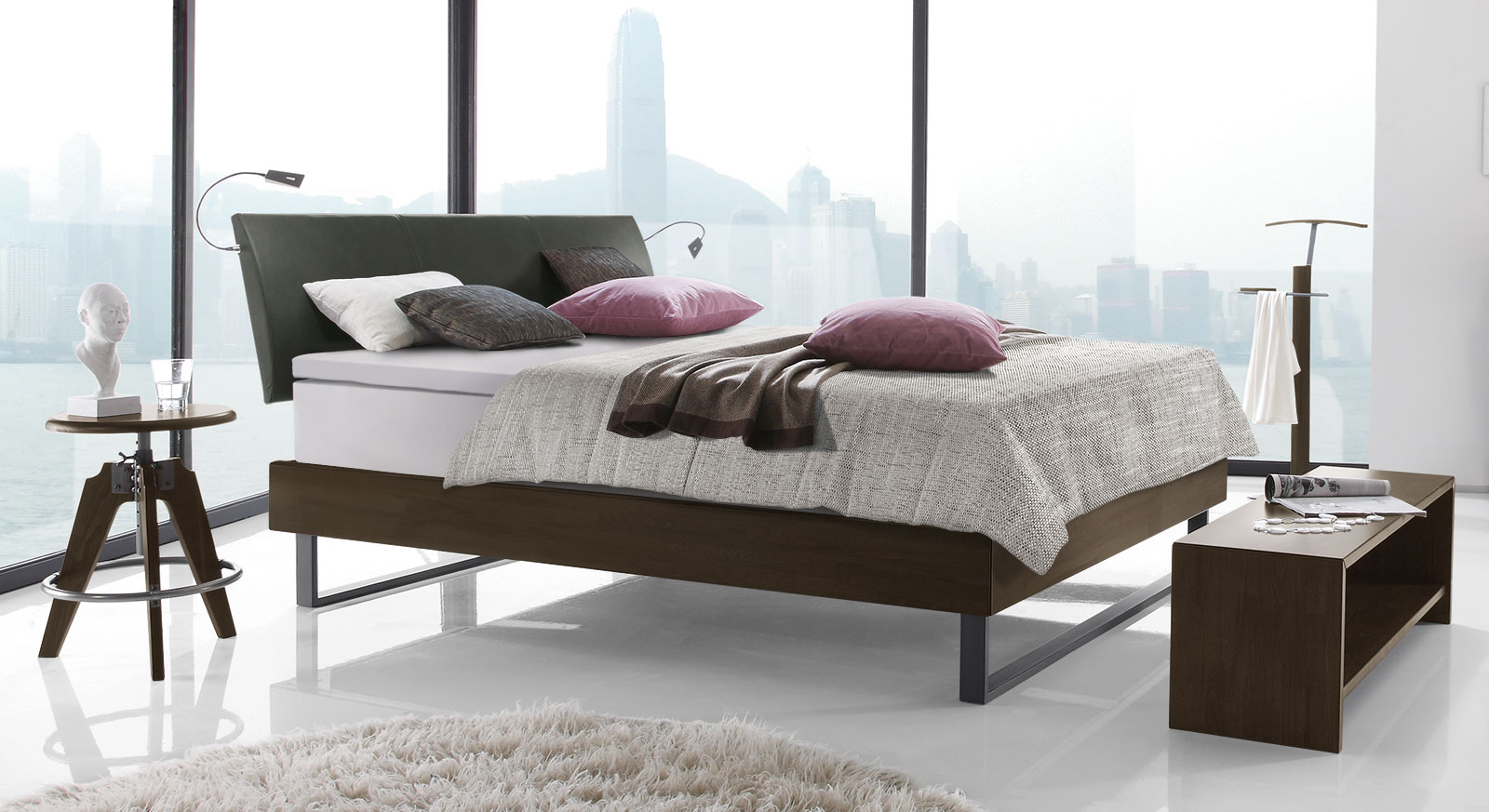 doppelbett aus buche mit boxspring ausstattung agia. Black Bedroom Furniture Sets. Home Design Ideas