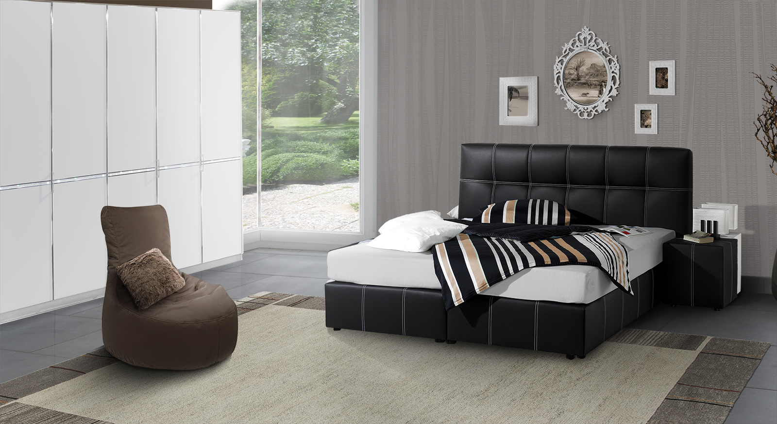 schlafzimmer mit boxspringbett. Black Bedroom Furniture Sets. Home Design Ideas